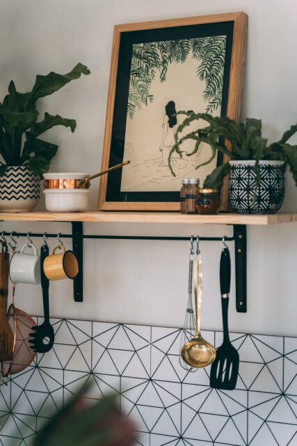 green plants and a frame on a shelf