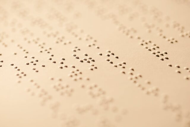 close up photo of braille